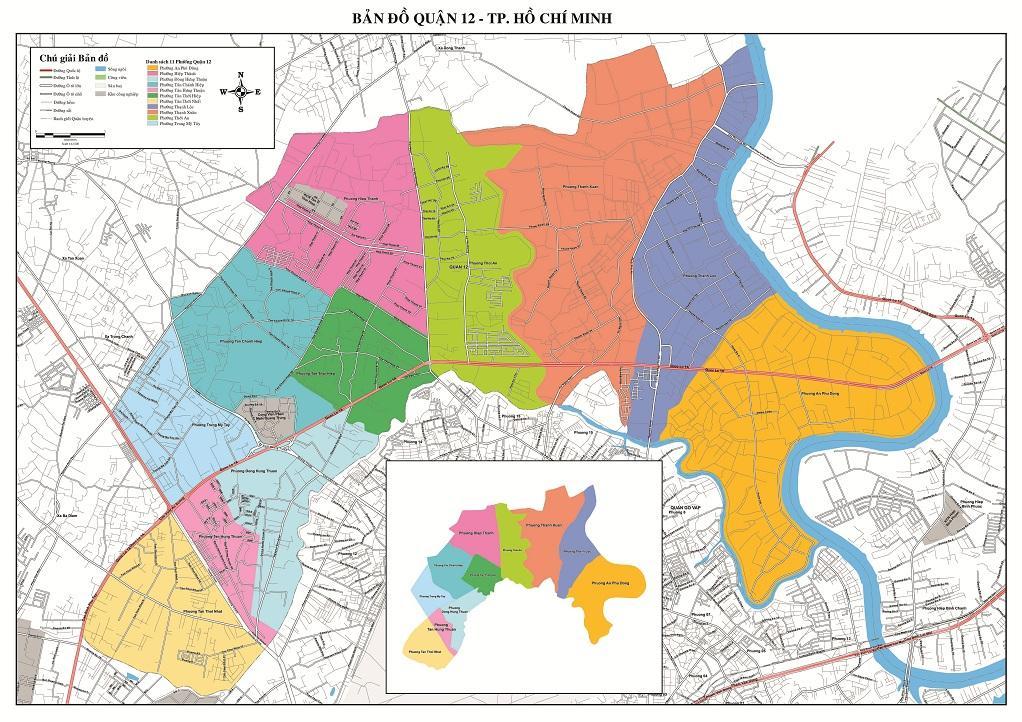 bản đồ ranh giới các quận tphcm