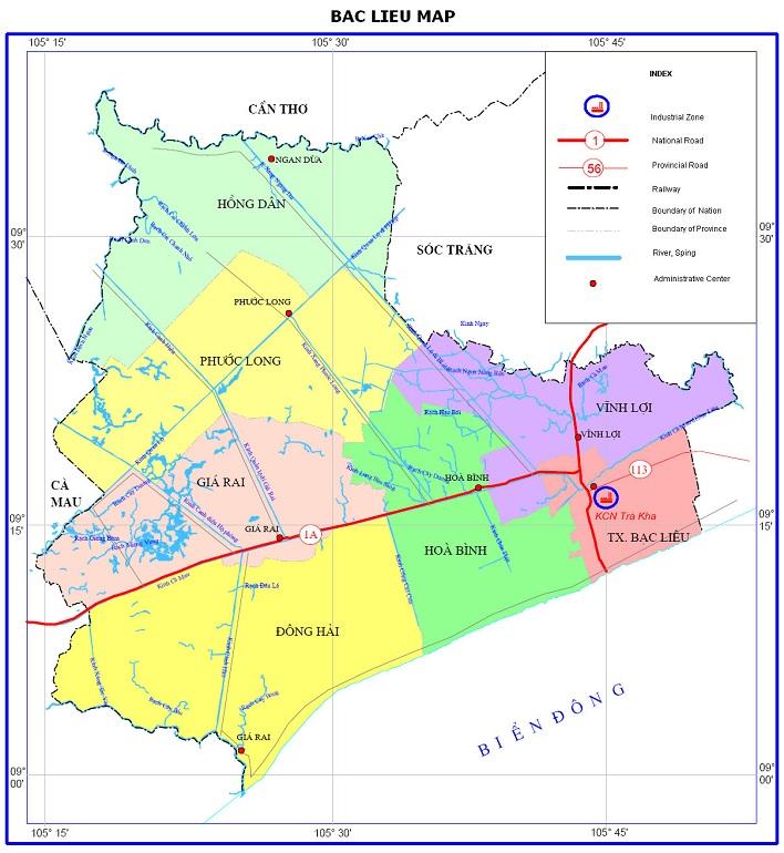 bac lieu province map viet nam